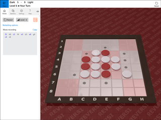 Reversi Reflex game main view and sidebar